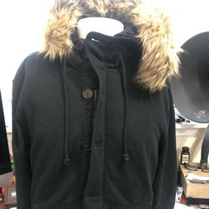 Rare black polo removable Fur jacket with patches